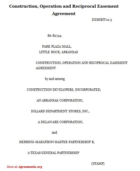 Construction, Operation and Reciprocal Easement Agreement, Sample - settlement agreement