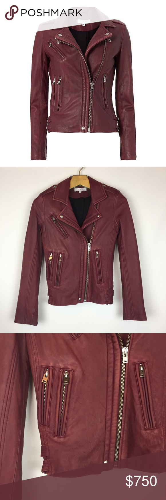Iro Han Burgundy Lamb Leather Moto Jacket Xs Leather Moto Jacket Jackets Moto Jacket [ 1740 x 580 Pixel ]