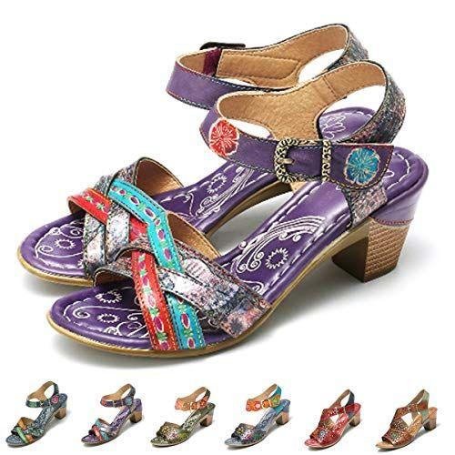 a07d62ef8dd449 Gracosy Sandales Cuir Femmes Talons Chaussures de Ville Été Bride Cheville Nu  Pieds à Talons Hauts