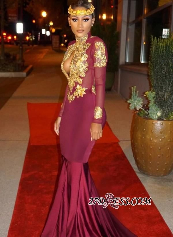 62d6da1a44b Mermaid Gold-Appliques Long-Sleeves Burgundy Keyhole Open-Back Prom Dresses  BA4987 Prom Dresses Special Occasion Dresses High Quality Wedding Dresses