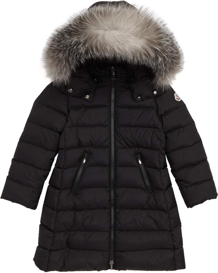 8dcc2c81187 Moncler Abelle Down Coat with Genuine Blue Fox Fur Trim