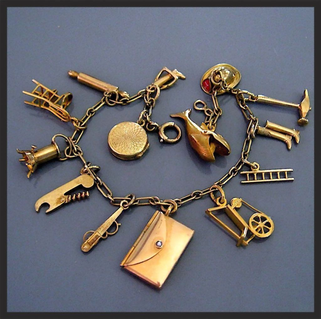 Rare Vintage 14k Gold Charm Bracelet Movable Mechanical