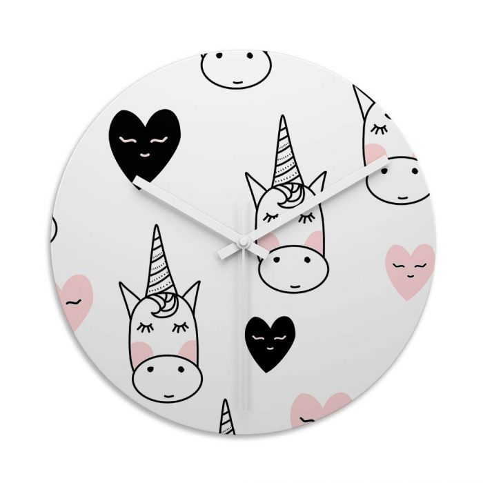Unicorn Love Glass Wall Art Clock. Toughened Glass Wall Clock Are Perfect  For Homes And