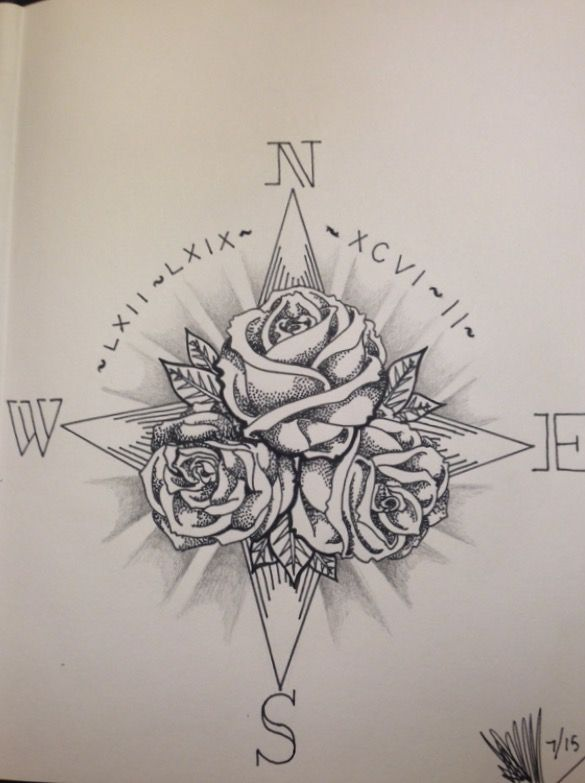 Compass & Rose Tattoo | Tattoos. | Pinterest | Compass rose tattoo ...