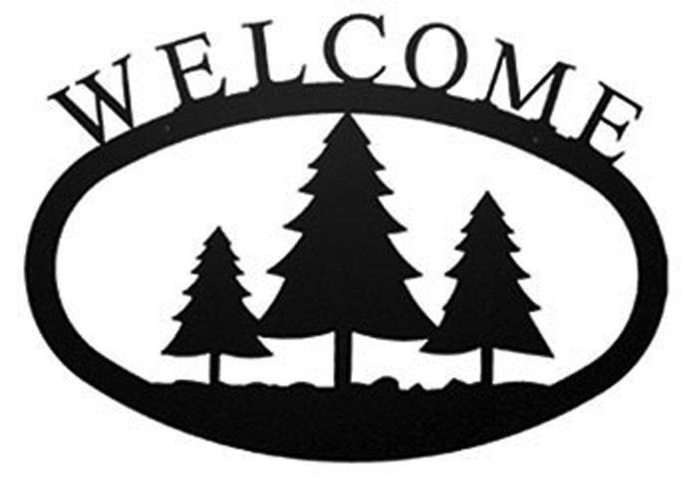 Iron Large Pine Trees Home Address Welcome Sign Large - Heavy Duty ...