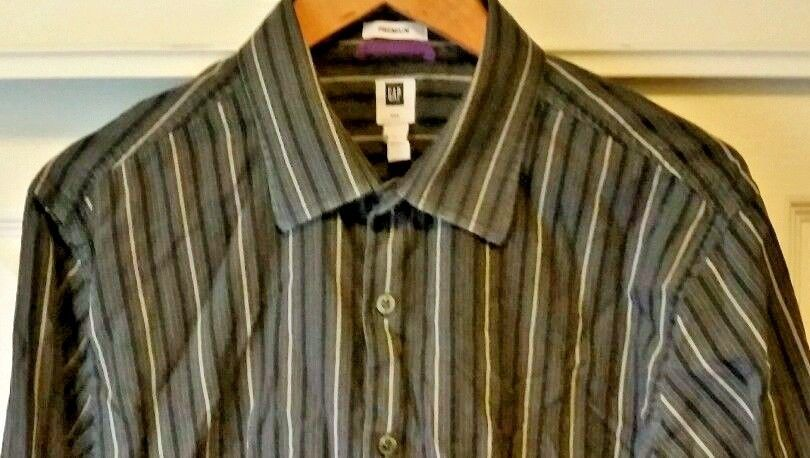 Gap Premium Fitted Shirt 16 Green Button S Blue Men Striped L Front Size Long Sl #GAP #ButtonFront