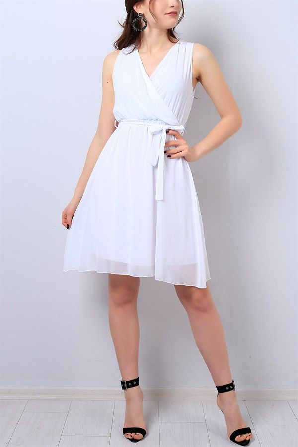Photo of 54,95 TL White Double Breasted Collared Chiffon Dress 14096B | B.C…