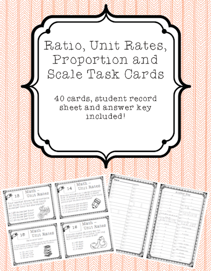 Ratio Unit Rates Proportion And Scale Task Cards In 2018 Unit