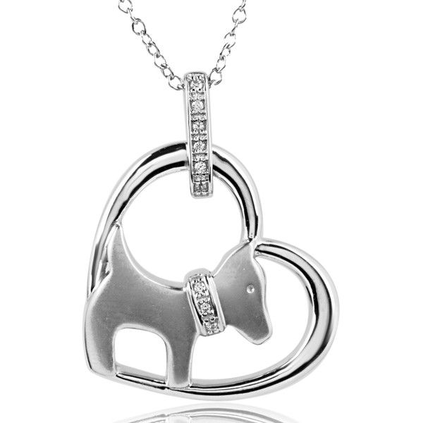 Aspca Tender Voices Sterling Silver Heart and Dog Diamond Necklace ($99) ❤ liked on Polyvore featuring jewelry, necklaces, white, sterling silver heart necklace, pendant necklace, sterling silver pendant necklace, sterling silver necklace and sterling silver heart pendant