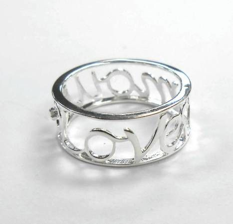 925 Sterling Silver Diamond Love Amour Ring Size 6 7 8 - $35