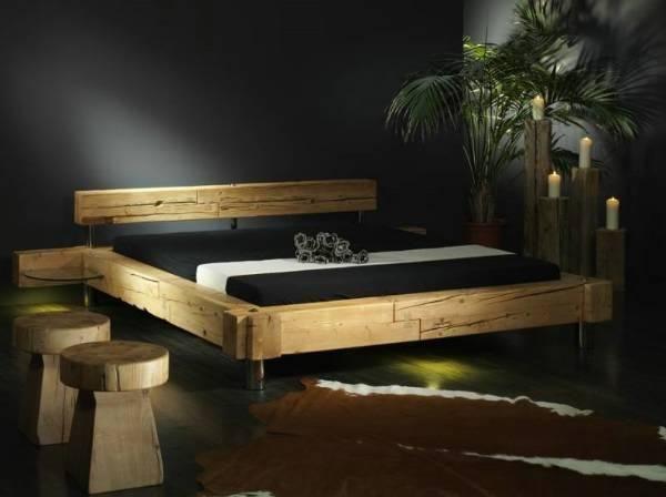 Balkenbett altholz  Balken Bett 180x200cm Tanne Altholz Massiv Mit Beleuchtung picture ...