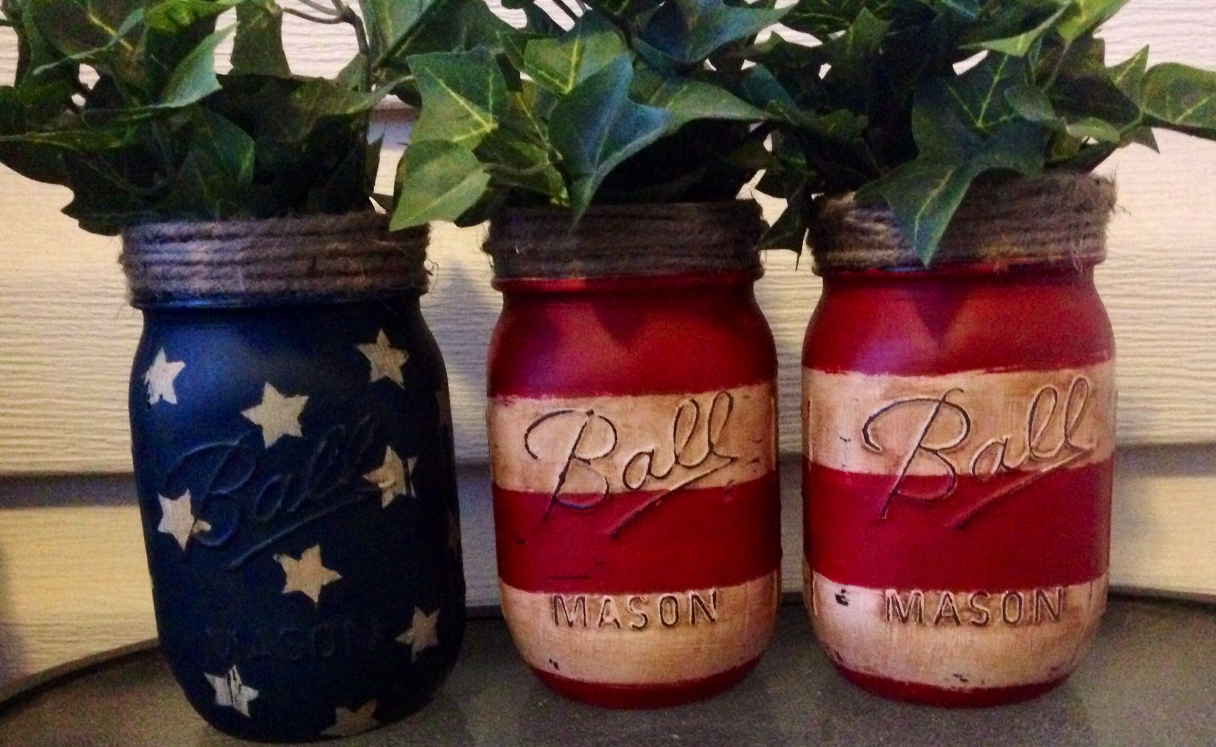 Painted mason jars patriotic pinterest jar and craft