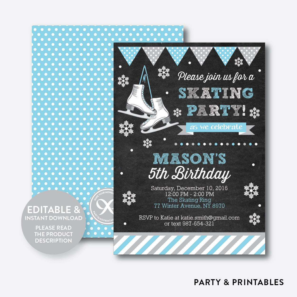 Ice Skating Blue ... http://partyandprintables.com/products/ice-skating-blue-chalkboard-kids-birthday-invitation-editable-instant-download-ckb-551?utm_campaign=social_autopilot&utm_source=pin&utm_medium=pin #partyprintables #birthdayinvitation #partysupplies #partydecor #kidsbirthday #babyshower