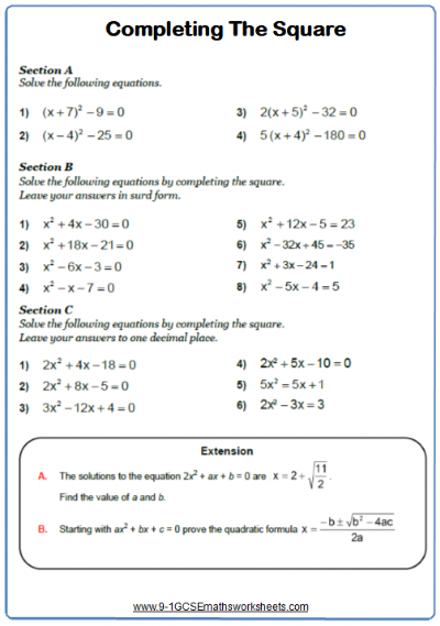 Completing The Square Maths Worksheet Completing The Square Math Worksheet Solving Quadratic Equations