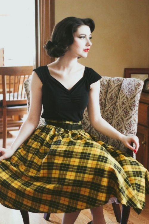 Retrolicious Madison Yellow Black Checked Swing Skirt 122 89 19500 20161114 0005V