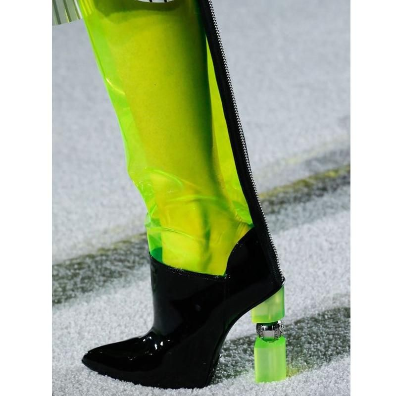 Newest Sexy Clear Pvc Boots Fashion Transparent High Heel Boots Strange Heel Women Long Boots