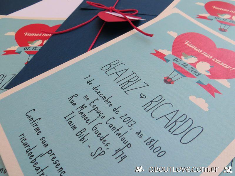 Convite de casamento moderno com com casal de passarinhos ...