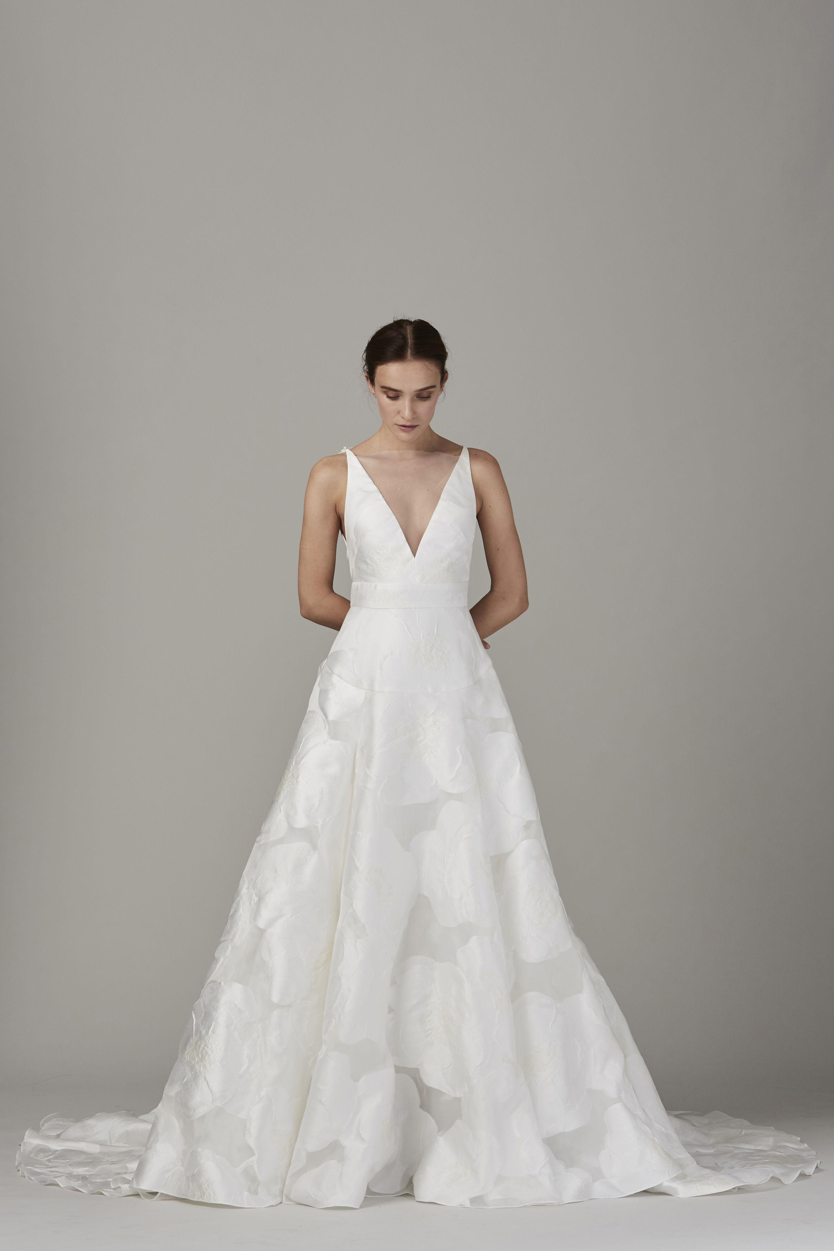 V Neck Textured Ballgown Wedding Dress Fall Winter 2017 Lela Rose