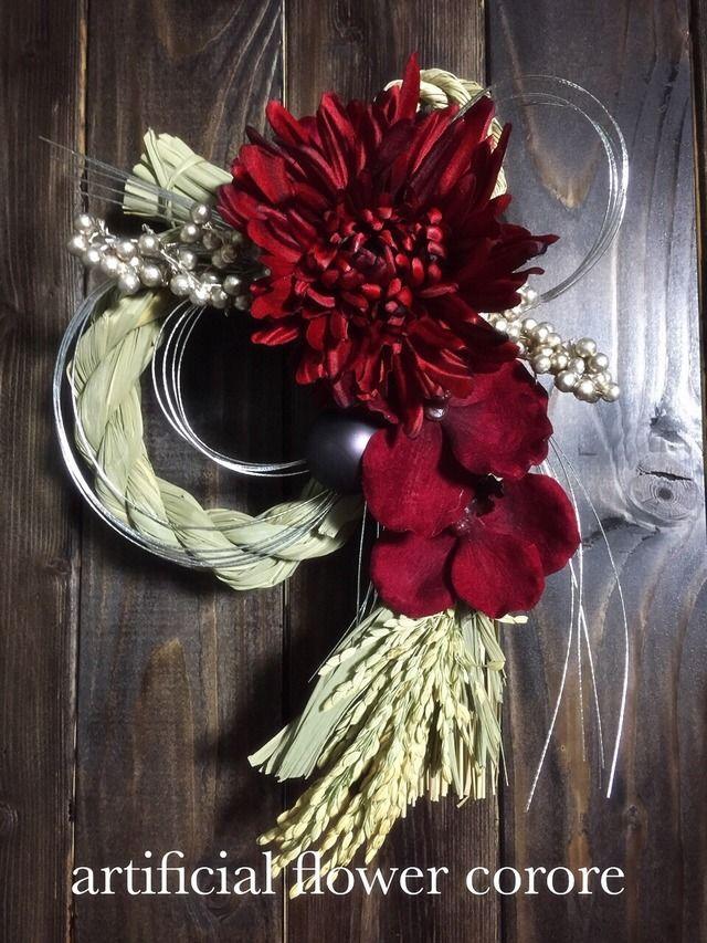お正月♡大輪マムとバンダの赤いモダンしめ縄♡