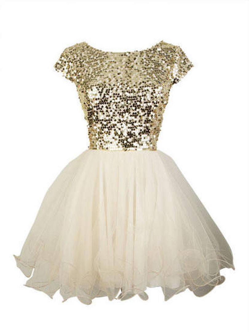 Golden sequined tulle panel cap sleeve homecoming dress choies