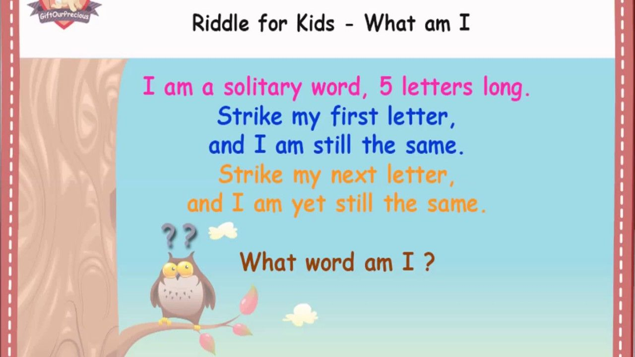 Riddles For Kids What Am I Giftourprecious I Am A