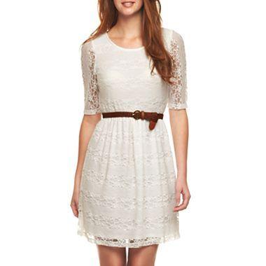 By 3 4 Sleeve Belted Lace Dress Jcpenney Estilo Lace