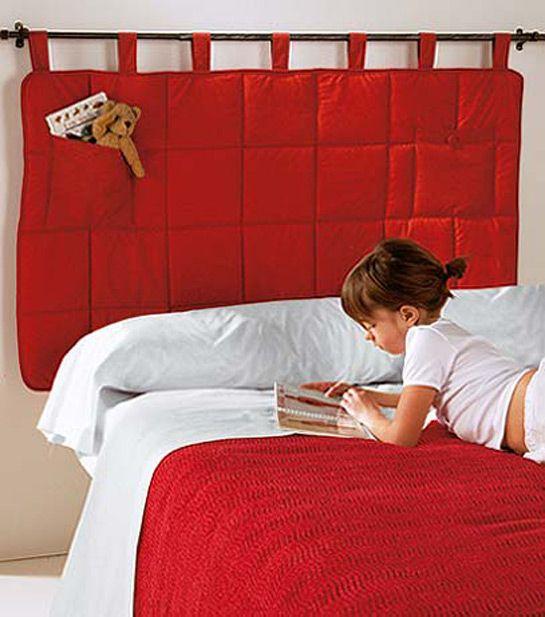 Cabecero colgante moderno de tela roja y bolsillo - Cabeceros acolchados cama ...
