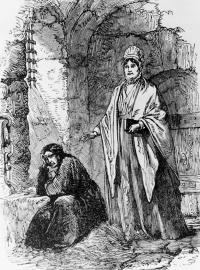 Mrs Elizabeth Fry (1780-1845) visiting a female prisoner at Newgate.