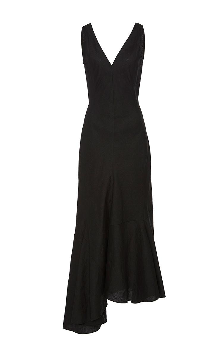 Calderon Asymmetrical V Neck Dress by CREATURES OF COMFORT for Preorder on Moda Operandi