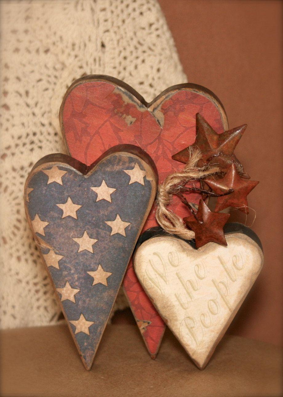 Americana Heart Decor Wooden Shelf Sitter We By Primitiveseason 9 00 Americana Crafts Fourth Of July Decor Heart Decorations