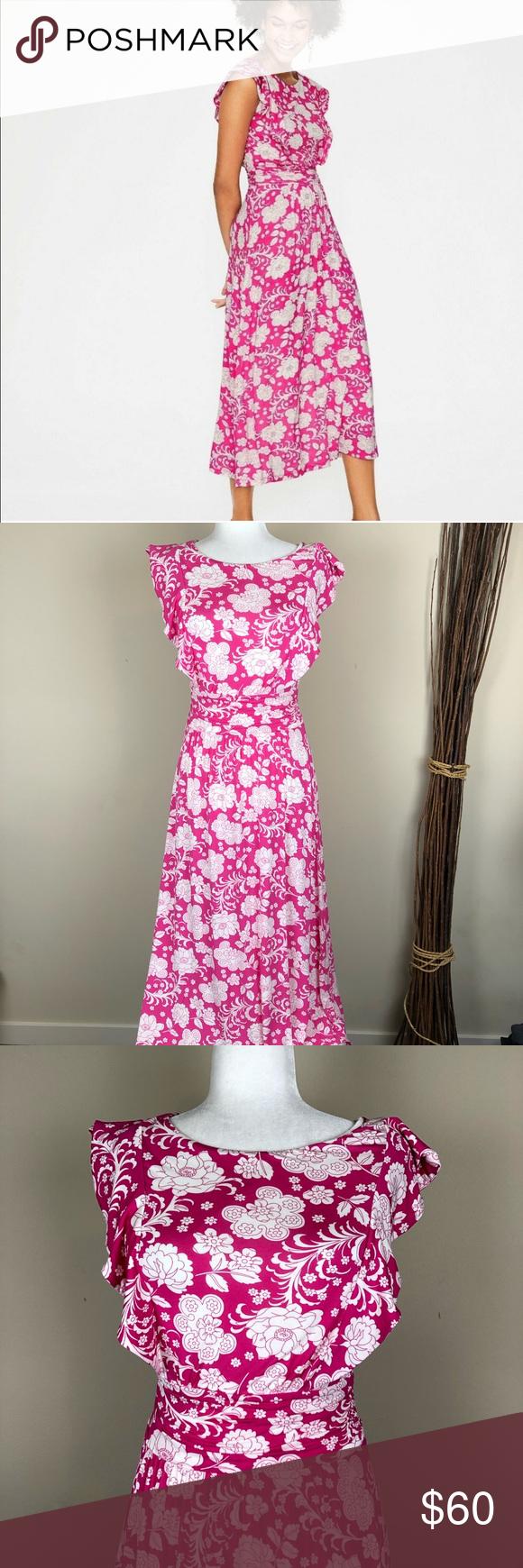 BODEN | Pink + White Floral Midi Dress Jersey 6