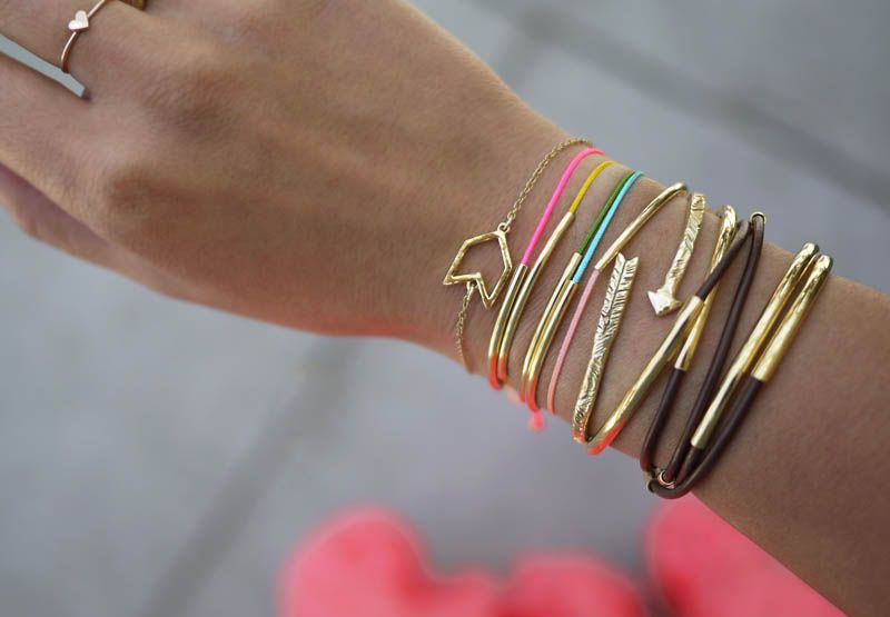 DIY Gold Tube Bracelets by honestlywtf: Two easy versions! #DIY #Bracelets #honestlywtf