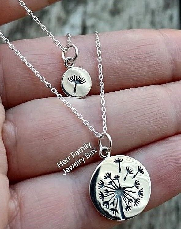 Sterling silver matching dandelion charms pendant mother daughter dandelions dandelion charms charm necklace matching necklaces mother daughter jewelry gift ebay ebaydeals sterling silver matching dandelion aloadofball Choice Image