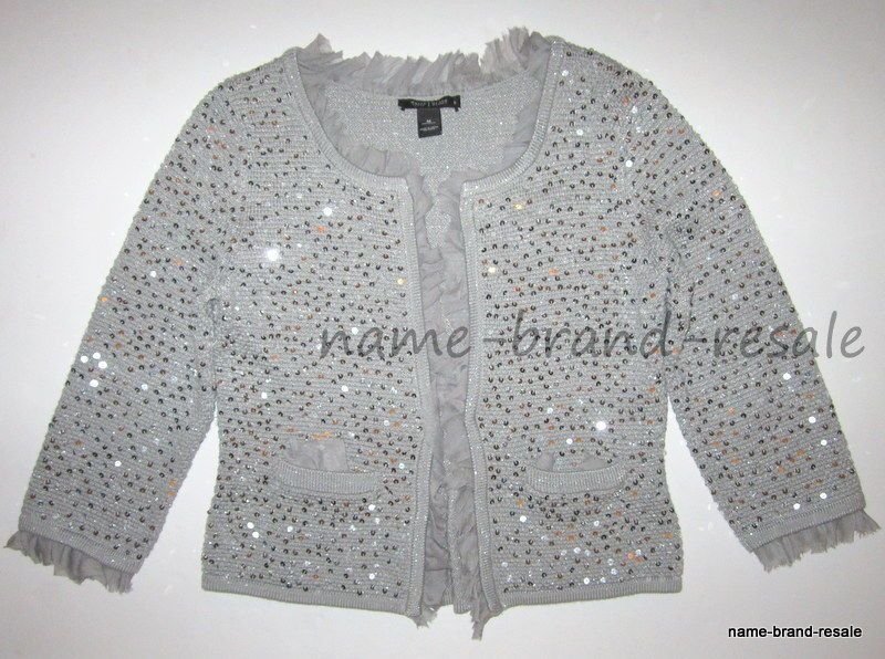 WHITE HOUSE BLACK MARKET Womens M Medium SILVER Sequined CARDIGAN ...