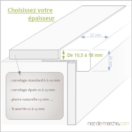 Nez De Marche Escalier Avec Grille 32 X 24cm Schema En 2020 Nez De Marche Nez De Marche Escalier Escalier Carrelage