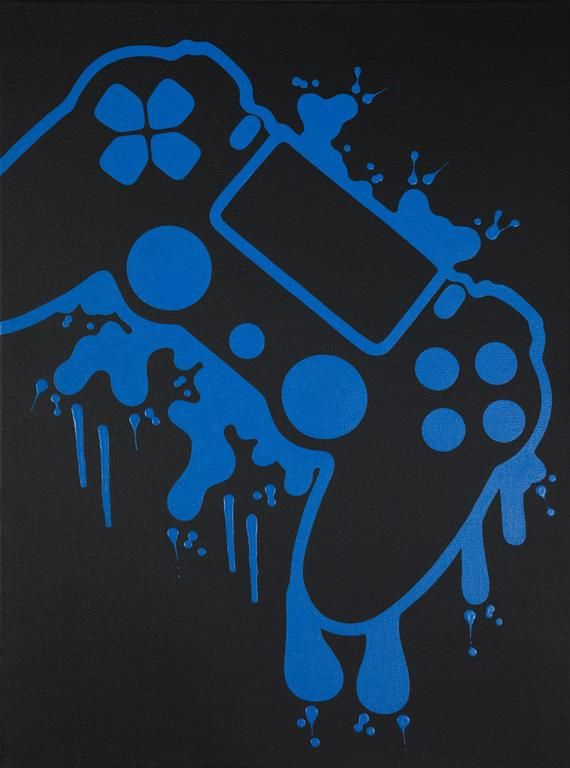 PlayStation 4 Video Game Controller Painting, Video Game Art, Hand Painted, Custom Colors, Custom Wall Art,Video Game Decor,Teenage Wall Art