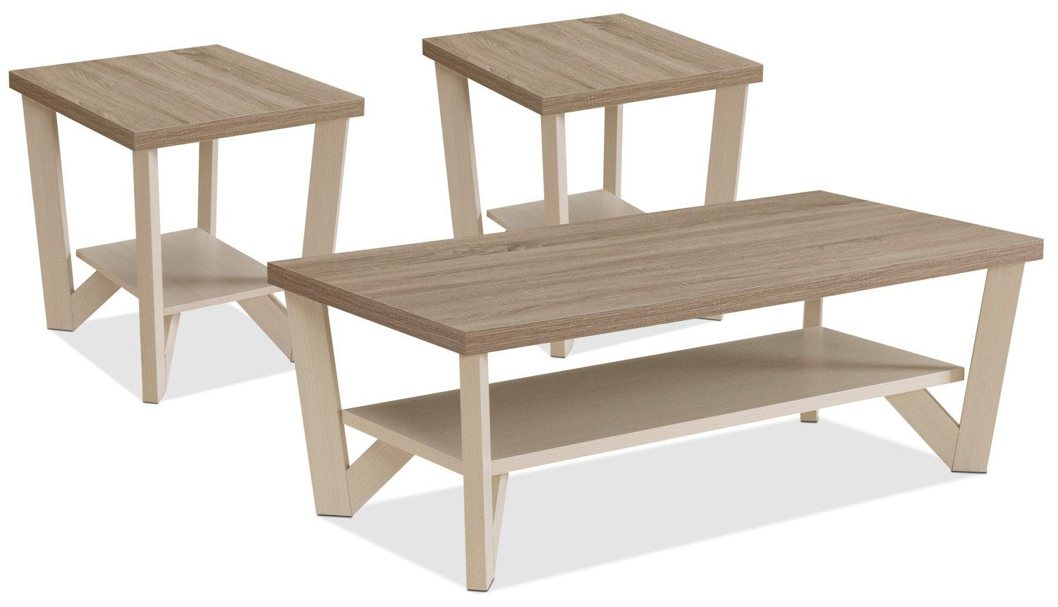 Arika 3 Piece Coffee And Two End Tables Package Ivory End