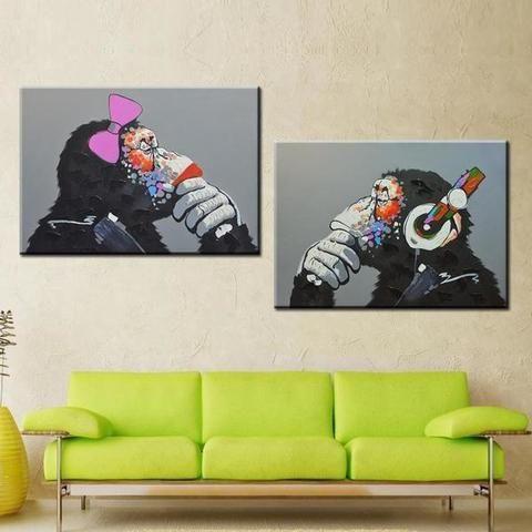 Banksy Thinking Monkey Canvas Canvas Art Prints Pinterest