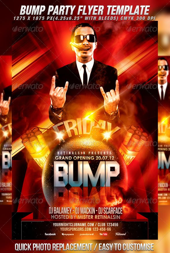 Bump Party Flyer Template  Party Flyer Flyer Template And Bump