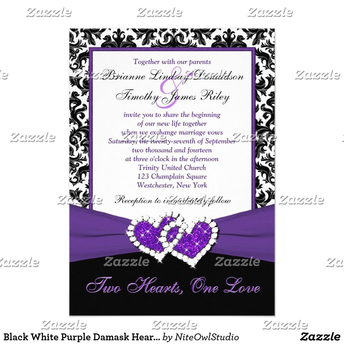 Black White Purple Damask Hearts Wedding Invite White Damask