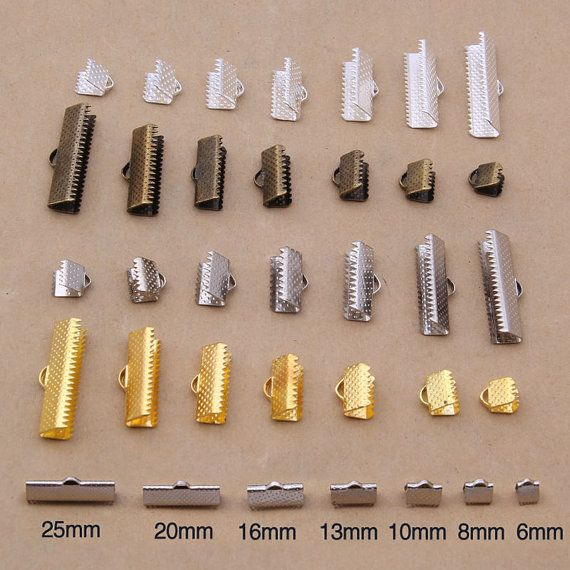 10mm,13mm,16mm Fold Over Clip Tips Cord Crimp Ends Bead Cap DIY Jewelry Findings