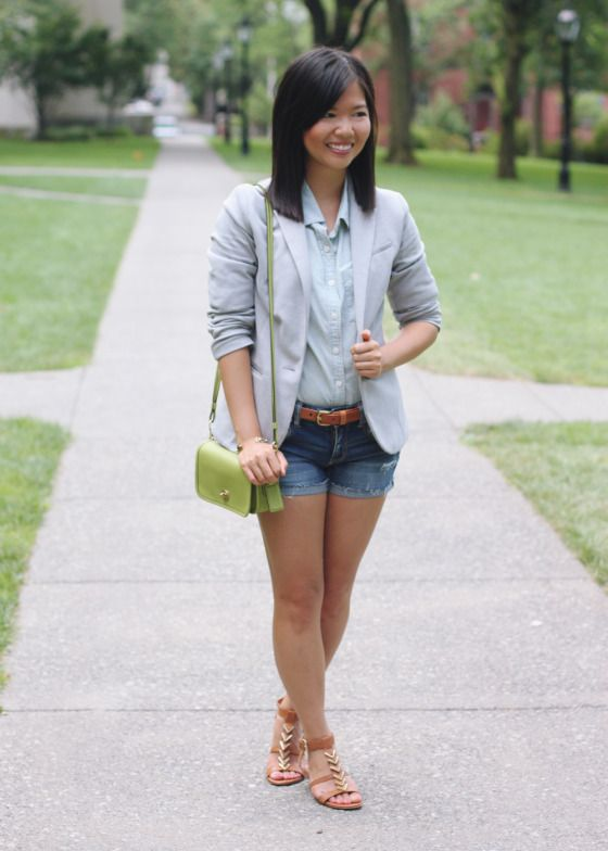 b5bfef8eca Skirt The Rules Blog  NYC fashion blogger  style blog  summer pre-fall  outfit  H gray blazer  J.Crew light chambray blue button up shirt  American  Eagle AE ...