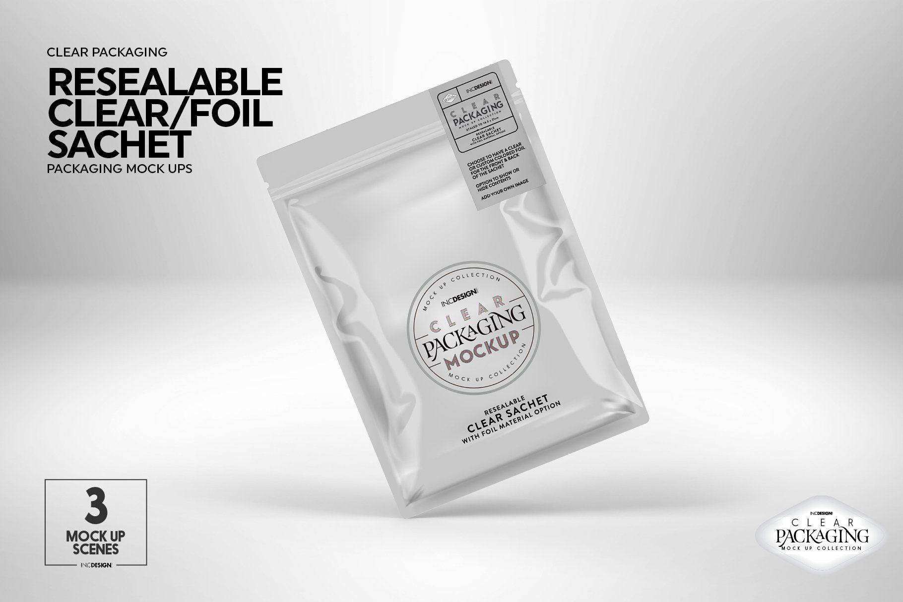 Clear Foil Sachet Packaging Mockup Packaging Mockup Branding