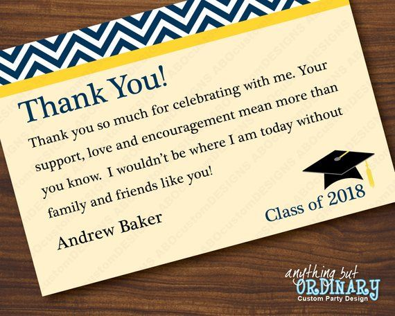 navy and yellow graduation thank you note chevron top
