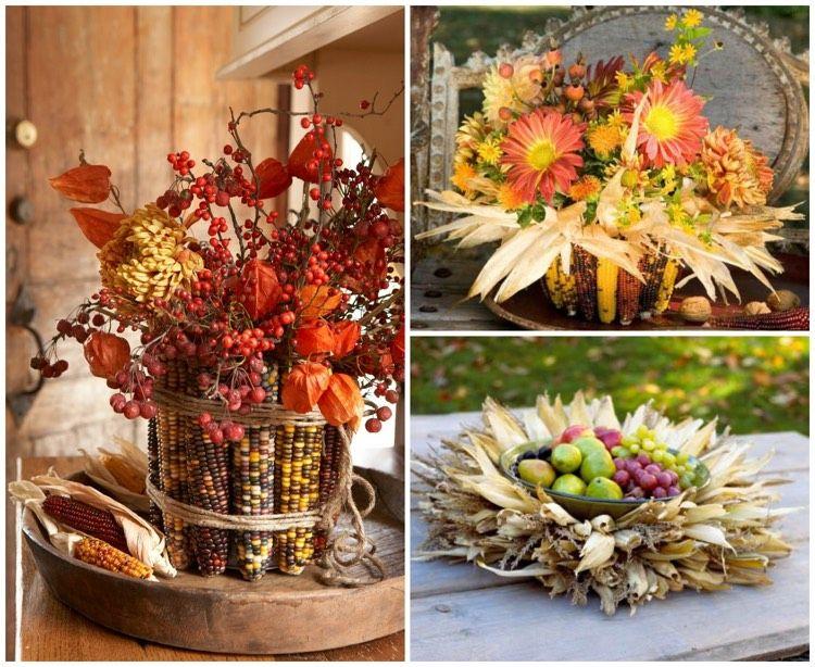 Basteln mit maiskolben blumen obst vasen tischdeko herbst for Herbst dekoration im glas