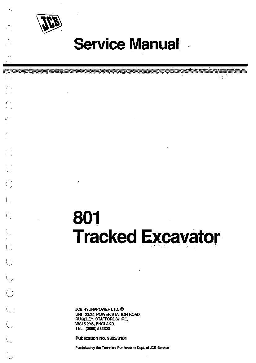 JCB 801 Tracked Excavator Workshop Repair Service Manual