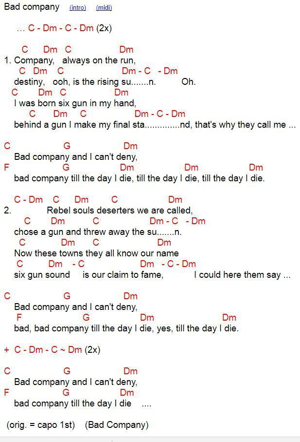 Bad Company Chords And Lyrics For Ukulele In C Learnpiano Learn