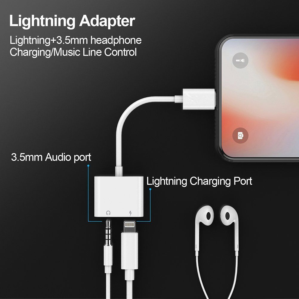 lighting to 3 5mm aux headphone jack audio adapter cone 2 in 1 lighting adapter compatible with phone xr xs max x 7 plus 8 plus support ios 11  [ 1001 x 1001 Pixel ]