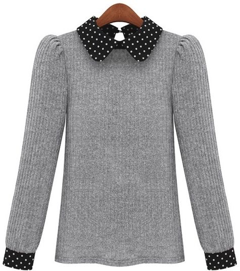 eJero : Newly Dot Doll Collar Long Sleeve Knitting Sweater https://www.ejero.com/home/index