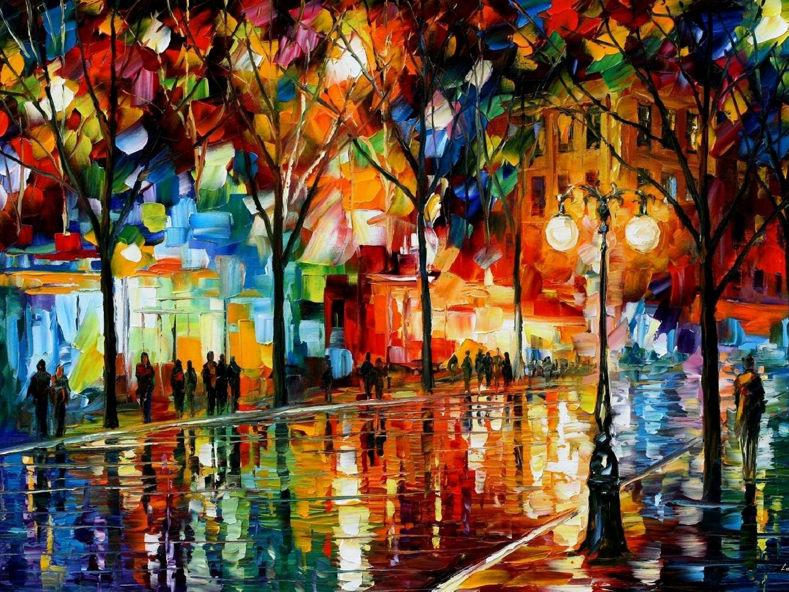 Download Wallpapers Download 2560x1920 Paintings Trees Multicolor Leonid Afremov 1452x1015 Wallpaper Art Hd Wallpaper Hi Res Canvas Painting Art Oil Painting